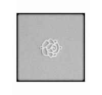 Flor calada de 17mm con anilla a cada extremo de plata de ley