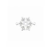 Entrepieza copo de nieve de 15mm con anilla a cada extremo de plata de ley