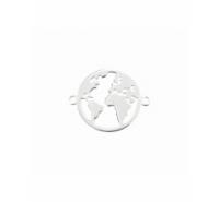 Entrepieza mundo de 15mm con anilla a cada extremo de plata de ley