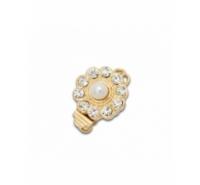 Cierre de latón de 12mm con perla central y similes de cristal
