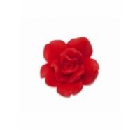 Flor rosa de resina de 14mm con agujero inferior de color rojo