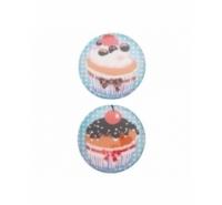 Cabuchón redondo con ilustración de cupcakes de 34mm.
