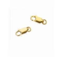 Mosquetón de 10mm mas anilla de plata de ley chapada en oro
