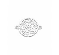 Redonda con flores caladas de 20mm con anilla a cada extremo de plata de ley