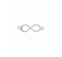 Entrepieza infinito con anilla a cada extremo de plata de ley