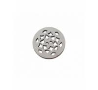 Redonda de piel gris de 20mm con adorno de filigrana troquelado.