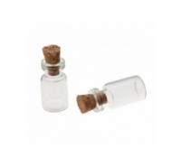 Botella de cristal con tapón de corcho de 25mm
