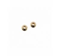 Bola lisa de plata de ley chapada en oro de 3mm con agujero de 1,5mm