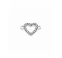 Corazón con circonitas de 11mm con anilla a cada extremo de plata de ley 925