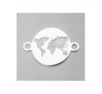 Placa con mundo grabado de 14x10mm con anilla a cada extremo de plata de ley