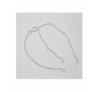 Pulsera de cadena de 14cm con anilla a cada extremo + 4cm alargador plata de ley
