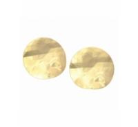 Pendiente redondo golpeado ondulado de 26mm de color dorado mate