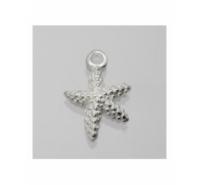 Colgante estrella de mar grabada de 10mm de plata de ley
