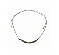 Gargantilla cordón gris centro Swarovski cilindro cristal rocks gris donut plata