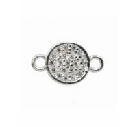 Placa de 6mm con circonitas y anilla a cada lado total 10mm plata de ley 925