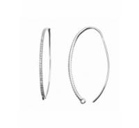 Pendiente gancho ovalado con tira de circonitas de 35mm con anilla plata de ley