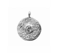 Colgante redondo grabado con simil central y anilla en plata de ley