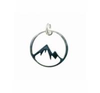 Colgante redondo de 15mm con montaña y anilla integrada en plata de ley