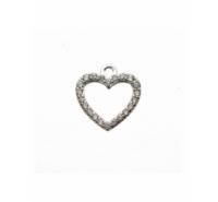 Silueta forma de corazón con circonitas en plata de ley con anilla para colgar