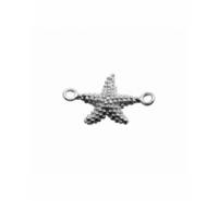 Entrepieza estrella de mar grabada con anilla a cada extremo de plata de ley