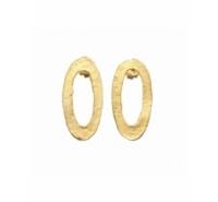 Pendientes ovales barrocos huecos de 25mm de zamak. Incuye presión