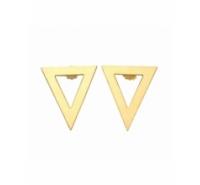 Pendientes en forma de triágulo de color dorado mate con cierres a juego